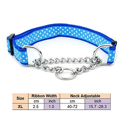 Collar De Perro Pet Nylon Slip Pinch Cuello Accesorios For Perros Cuello Ajustable For Un Perro Grande (Color : Blue Polka Dot, Size : XL)