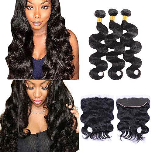 Zhuomei Beauty Body Wave Bundles 24 26 28 Inch with 20 Inch 13×4 Lace Frontal Closure Natural Color Can Be Dyed Any Color You LIke (24 26 28 with 20, free part)