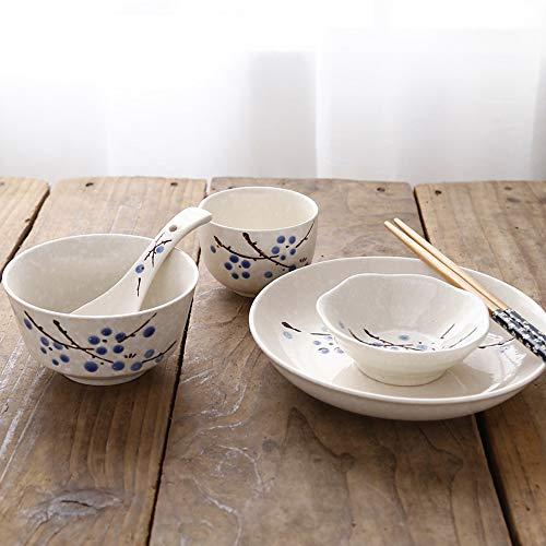 Bol Plats chinois et japonais, baguettes, assiettes, vaisselle en céramique, restaurant de l'hôtel, ensemble de table, 6 pièces, vaisselle individuelle, 4 couleurs (Couleur : Blue plum)