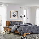 sleepwise Biber Bettwäsche Baumwolle | weich warm kuschelig | 135x200 cm + 80x80 cm Kissenbezug | Dunkel Grau