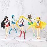 weichuang Adornos 5pcs / Set Figuras de acción Sailor Moon 18cm Mercurio Júpiter Venus Figuras de colección Modelos niños muñeca Juguetes del Regalo Mobiliario (Color : A)