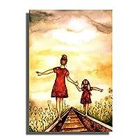 Swarouskllママ娘は手を握る壁アートポスター絵画プリントリビングルーム家の装飾掛ける準備ができて-40X60cm木製フレーム