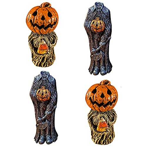 WJOJBK Figuras de gnomo sin cabeza de calabaza, linda decoración de calabaza de Halloween, caballero enano sin cabeza, artesanía pastoral de resina, hermosos adornos de escritorio (4 piezas)