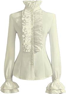 Women Retro Stand-Up Collar Lotus Ruffle Victoria Shirts...