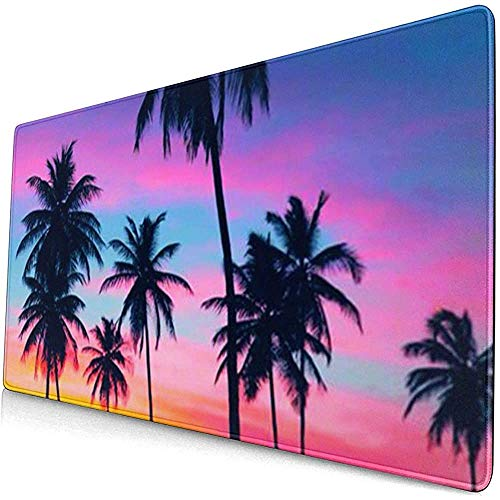 Tropische palmboom behang uitgebreide gaming muis pad, dikke grote computer toetsenbord muismat