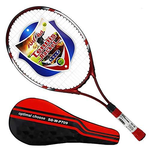 LLCP Carbon und Aluminium Composite Tennisschläger, Erwachsene Kinder Wettkampf Trainings Schläger,Red