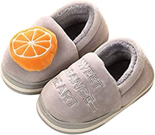 Cyiecw Kid Slippers, Boys Girls Fruit Slippers Booties Fuzzy Indoor Warm Shoes/Anti-Skid Sole (Toddler/Little Kid)
