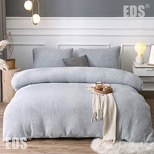 EDS Teddy Fleece Luxury Duvet Cover Sets Thermal Warm & Super Soft Cozy Fluffy with Matching Pillow Case (Double, Silver)