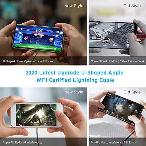 Besseres Design als 90-Grad iPhone Ladekabel 2M, MFi Certified 2Pack 6ft Lightning Kabel Lang, Nylon chnellladung iPhone USB Ladekabel für iPhone 11/XS/XSMax/XR/X/8/8 Plus/7/7Plus/ 6s/6/6Plus/5S/5