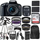 Canon EOS Rebel T7i with 18-55mm is STM Lens & Professional Accessory Bundle - Includes: SanDisk Ultra 64GB SDXC Memory Card, Extended Life Spare Battery, Digital Slave Flash, 50'' Tripod & More