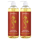Puracy Body & Hand Wash, Bergamot & Sandalwood, Natural Shower Gel for Men and Women, 16 Oz (2-Pk)