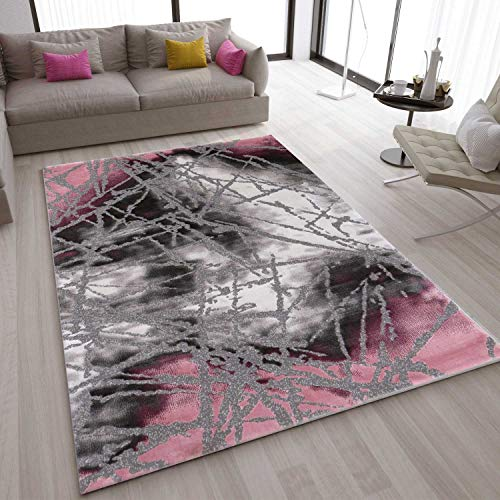 VIMODA Teppich Abstrakt Used Optik in Pink Grau, Maße:160x230 cm