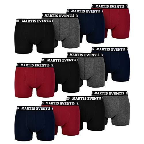 L&K Martis Eventis 12er Pack Boxershorts Men Herren Retroshorts Baumwolle klassischen Unifarben Unterhose 1119 UN1 XL