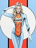 Hunnry Gulf Pin Up Girl Poster Metall Blechschilder Retro