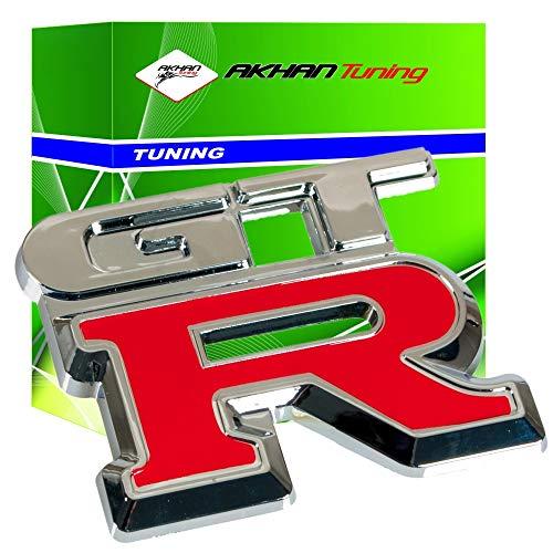 3D07230 - Rojo Emblema cromado 3D etiqueta insignia logotipo decorativo coche (3M autoadhesivo) GTR