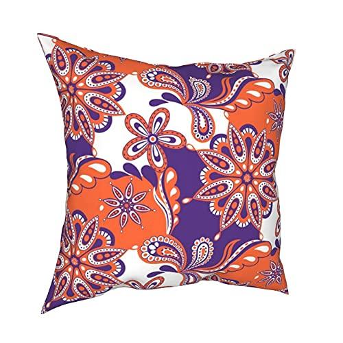 Art Fan-Design Funda de cojín Clemson Paisley Mandala Suave Decorativa Cuadrado Juego de Fundas de Cojín Fundas de Almohada para Sofá Dormitorio Coche 45,7 x 45,7 cm