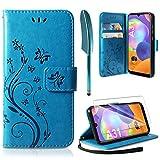 AROYI Funda Compatible con Samsung Galaxy A31 y Protector de Pantalla, Relieve Dibujo Carcasa de Tipo Libro Soporte Plegable Ranuras para Tarjetas Magnético Ultra Delgado Carcasa Case, Azul