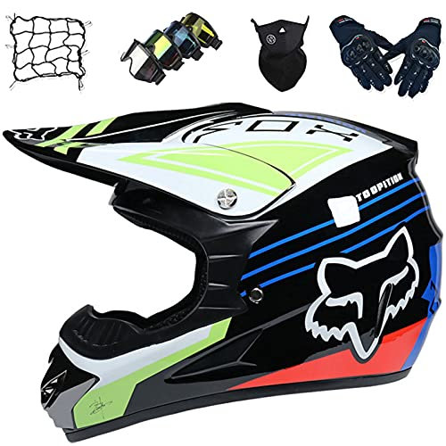 Aidasone Casco de Moto Integral, YEDIA-01 Casco Moto Niños con Diseño Fox, Casco de Motocross Jóvenes Adultos Set (5 Piezas) para Downhill Enduro MTB Dirt Bike Racing,L
