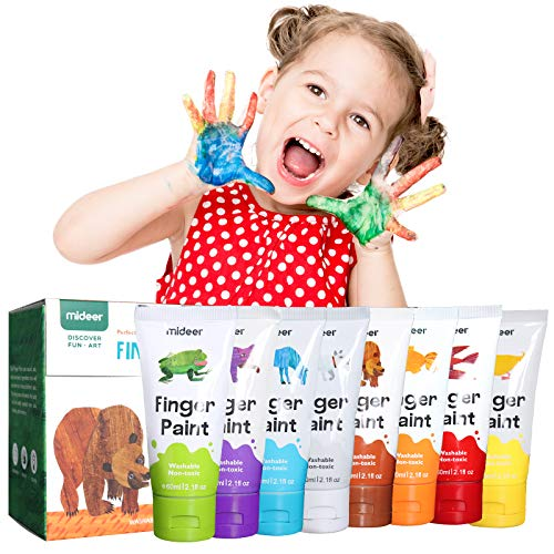 XIANGZI Finger Paints For Toddlers Non ToxicWashable Finger Paint Set For KidsArt Supplies For KidsMy First Fingerpaint Kit Washable Paint For Kids Diy Crafts Painting 8 Color