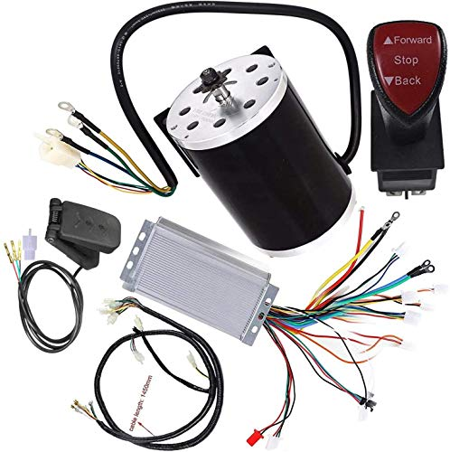 ZXTDR Set High Speed 48V DC 1800W Brushless Electric Motor & Controller & Wiring Harness & Forward Reverse Switch For e-Bike ATV Go Kart Moped Mini Bikes Motorized Bicycle