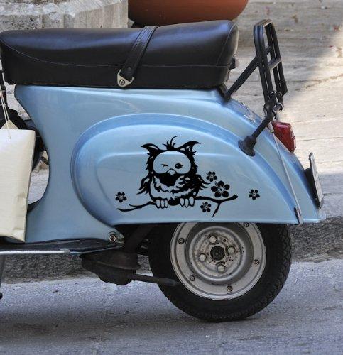 ilka parey wandtattoo-welt Mopedaufkleber Rollertattoo Eule Eulenaufkleber Roller Moped Aufkleber Mopeddesign M685