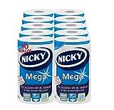 Nicky Mega Papel De Cocina | 10 Rollos | Hojas De 2 Capas, 125 Hojas Por Rollo | Mono Rollo Compacto Que Cunde Como 4 | Papel 100% Certificado Fsc, color Blanco, U, 62 ml