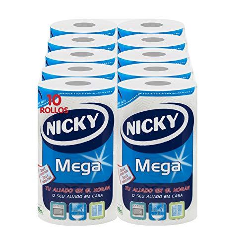 Nicky Mega Papel de Cocina   10 rollos   Hojas de 2 capas, 125 hojas por rollo   Mono rollo compacto que cunde como 4   Papel 100% certificado FSC