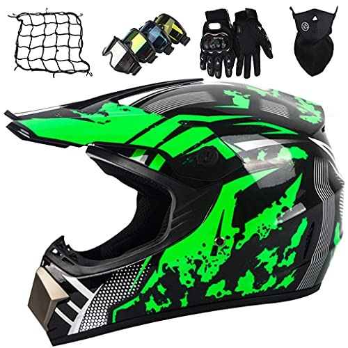 Motocross Helmet, Black Green Kids Motorbike Cross Helmet, Full Face MTB Off Road Downhill Quad Bike Helmet Set with Goggles/Gloves/Mask/Helmet Net