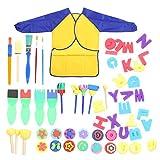 DAUERHAFT 57 Pinceles de Esponja para Pintar, Kits de Pinceles de Esponja para Pintar, adecuados para niños de 2 a 6 años de Edad temprana, para niños pequeños de Aprendizaje temprano,