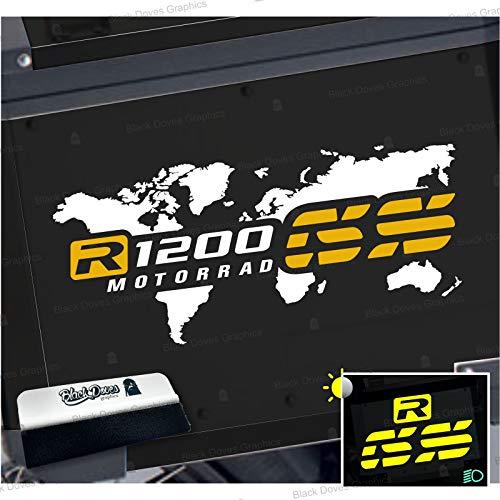 2 adhesivos bicolores para maletas laterales compatibles con R 1200 GS y Adventure mapa Touratech Givi R1200GS R1200 (blanco-amarillo)