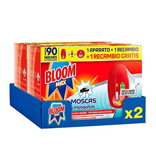 Bloom Max Insecticida Electrico Líquido contra moscas, y mosquitos común y tigre - Pack de 2 Aparatos + 4 recambios
