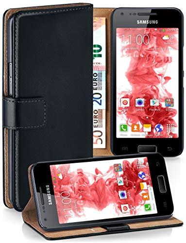 MoEx Cover a Libretto Compatibile con Samsung Galaxy S2 / S2 Plus | Fessura Carta + Soldi, Supporto, Nero