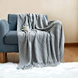 Grey Knit Throw Blanket for Couch Bed Soft Textured Woven Blanket 50' x 60' Sofa Throw Blanket Lightweight Decorative Blanket with Tassels Fluffy Large Gray Blanket for Living Room