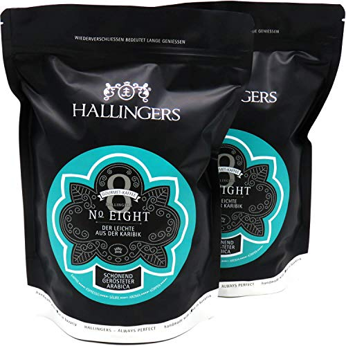 Hallingers Gourmet-Kaffee aus der Karibik, schonend langzeit-geröstet (1.000g) - No. Eight, Set 2x 500g (Aromabeutel) - zu Passt immer