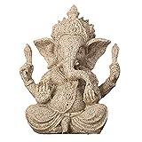 Mini Budismo Estatua De Ganesha,Hindú Dios Elefante Señor Ganesh Estatuilla,Hechos A Mano Resina Figura De Buda Decoración De La Meditación Para El Hogar Coche Jardín Artesanía Reg-Arenisca 7.5x6x9.5c