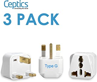 Ceptics World (USA, China, India & More) to UAE Travel Plug Adapter(Type G) - Perfect for using International Electronics in UAE - Charge your Cell Phones,Laptops,Tablets - Grounded -3 Pack(GP-7-3PK)