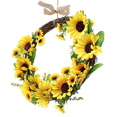 KPOON WeihnachtskranzKünstlicher Sonnenblumenkranz Blumenkranz-Wandtür-Hochzeitsfeier-HauptdekorationenWeihnachtsfest-Anzeige