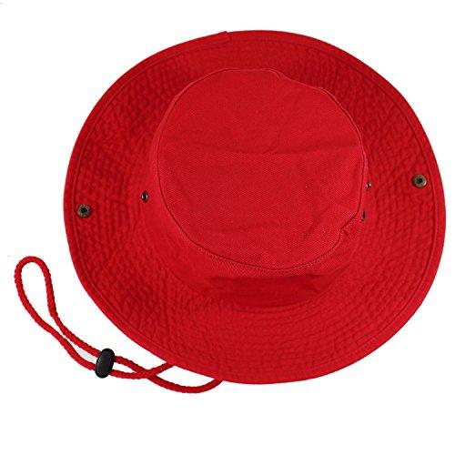 Gelante 100% Cotton Stone-Washed Safari Booney Sun Hats 1910-Red-L/XL