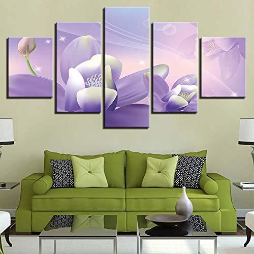 Afbeelding op canvas, modern schilderwerk, hoge resolutie, druk, decoratie van het huis, 5 modules, bloemenmotief, creatief design, nachtkastje, achtergrond L-30x40 30x60 30x80cm Frame