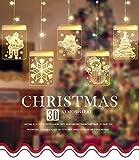 Cadena Cortina de Luces LED, Lypumso Luces de Navidad Tira Luminosa con 5 Placas con Patrones...