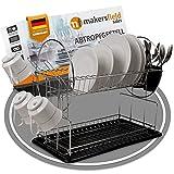 Makersfield Sales | Geschirrabtropfgestell – Geschirr Abtropfständer für Küche rutschfeste Unterlegmatte, Tassen- & Besteckhalterung, 42,5 x 36 x 24 cm [Schwarz/Silber]