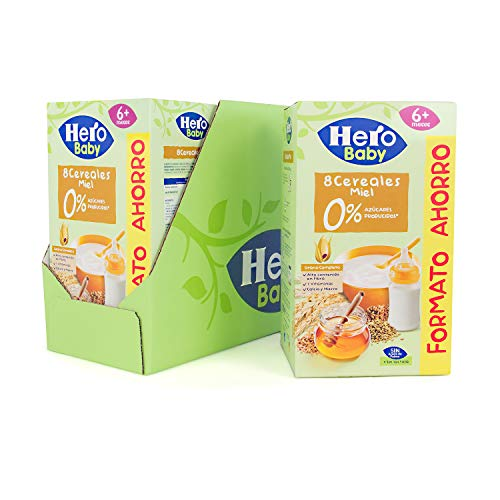 Hero Baby Papilla de 8 Cereales - Para Bebés a Partir de los 6 Meses - Pack de 3 x 820 g