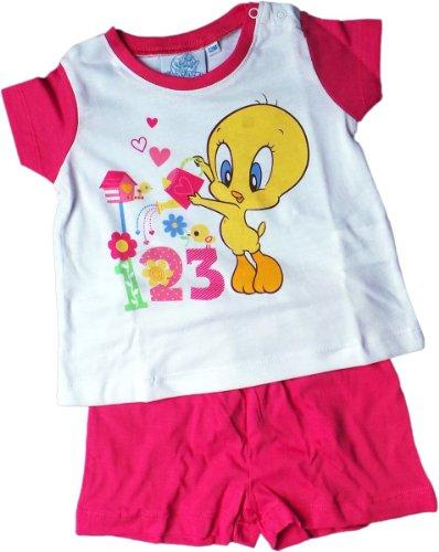 Warner Brothers Looney Toons Zweiteiler/Pyjama/Schlafanzug/T-Shirt und Shorty - Tweety und das Blumen 1-2-3 - Pink/Mehrfarbig