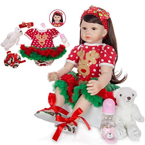 HWBB Bambola Reborn Femmina 60cm bebé Renacido muñecas muñecas realistas de Silicona Suave, Realista Renacida muñeca niñas como los niños Juega Edad 3+