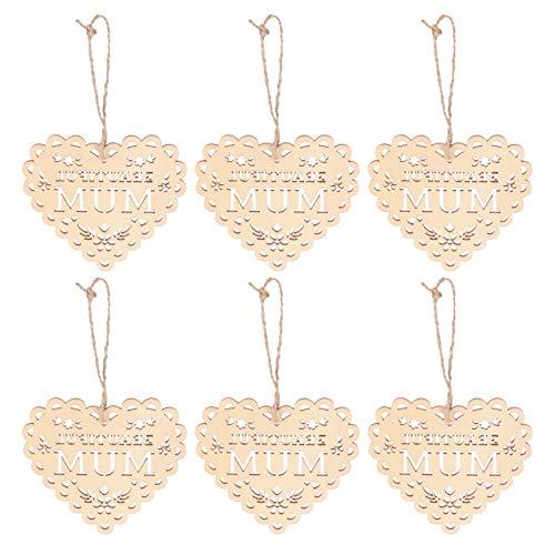 VALICLUD 10 Unidades de Rodajas de Madera para El Día de Las Madres Forma de Corazón Hermosa Mamá Etiquetas de Recortes de Madera sin Terminar Manualidades Colgantes Adornos (Caqui)