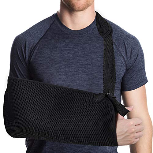 HZONE Arm Sling, Shoulder Sling Medical Arm Support Strap for Broken Fractured Arm Elbow Wrist, Adjustable Arm Shoulder Rotator Cuff Support Brace, Lightweight, Breathable, Left and Right Arm (Adult)