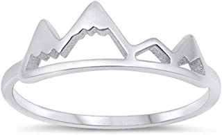 Classic High Polish Cutout Mountain Range Ring New .925 Sterling Silver Band Sizes 4-10