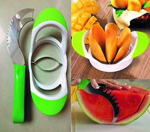 Melon Cutter Two Set- Watermelon Slicer Knife, Cantaloupe Melon Cutter - For cutting all types of melons with EASE & Mango Corer/slicer/pitter - NON-slip grip handle & STAINLESS STEEL
