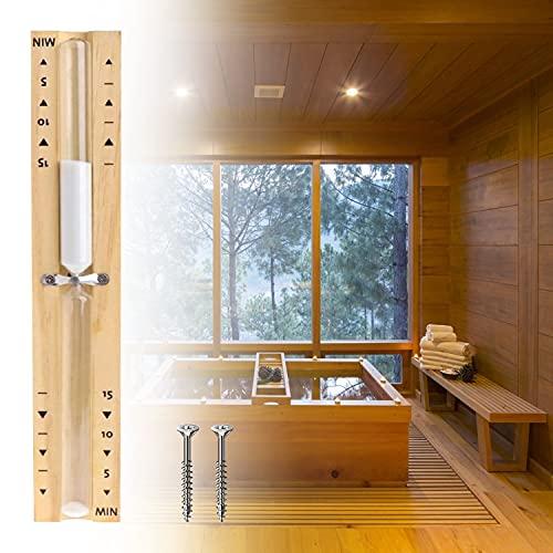 HENGBIRD Sanduhr Sauna Timing Zubehör Timer 15 Minuten, Küchentimer Hitzebeständig Sauna Sanduhr Uhr aus Holz Weiß Sand