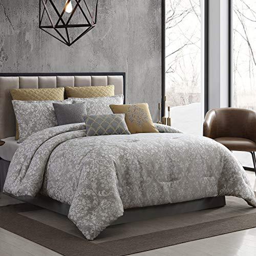 Riverbrook Home 100% Polyester Comforter Set, Queen, Lantana-Gray 9 Piece
